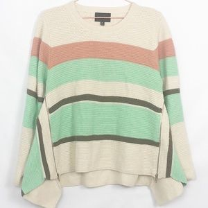 Anthro Striped Zipper Side Flair Sweater New Cond.